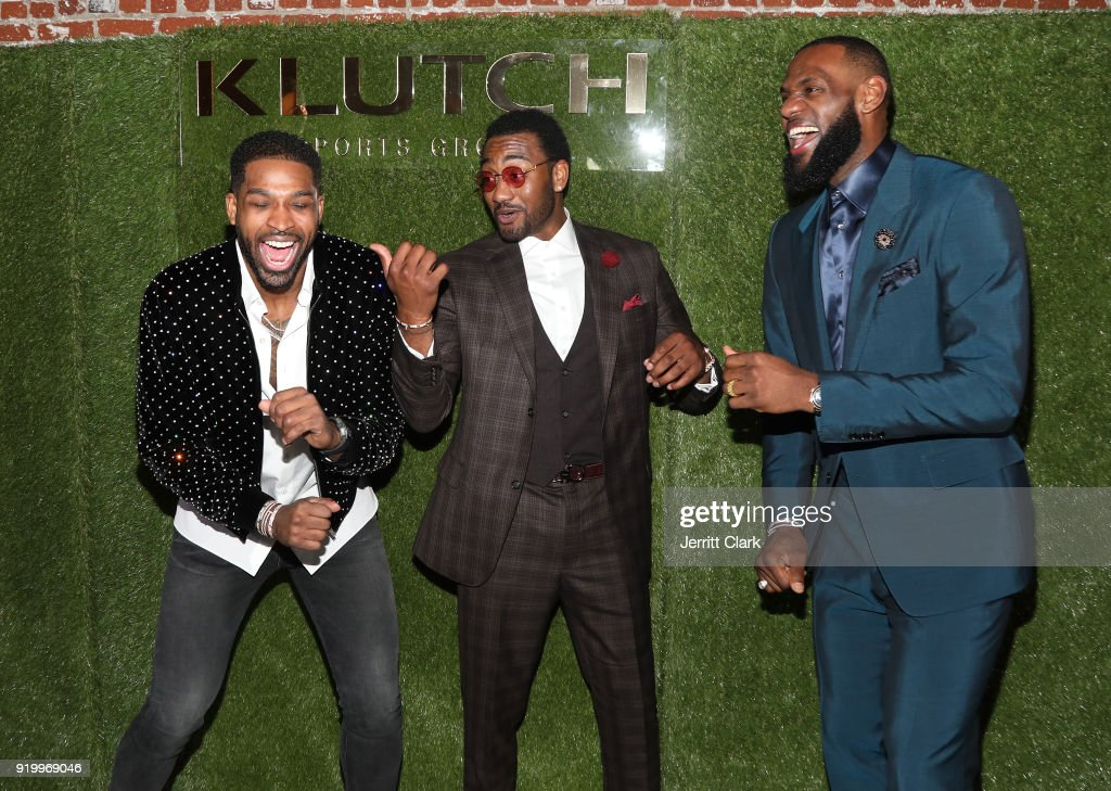 Players Tristan Thompson, John Wall and Lebron James share a laugh at the Klutch Sports Group 'More Than A Game' Dinner Presented by Remy Martin at Beauty & Essex on February 17, 2018 in Los Angeles, California.
