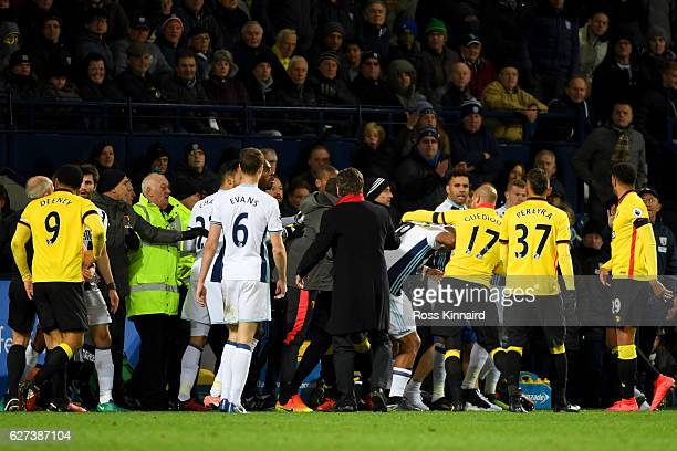 Players tussle during the Premier League match between West Bromwich Albion and Watford at The Hawthorns on December 3 2016 in West Bromwich England