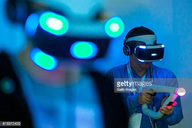 Players using PlayStation VR accessories during the TMobile Warsaw Games Week on October 13 2016 at EXPO XXI Exhibition Hall in Warsaw Poland WGW is...
