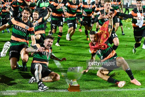 Players Venezia FC celebrate being promoted to Serie A after the Serie B Playoffs Final match between Venezia FC and AS Cittadella at Stadio Pier...