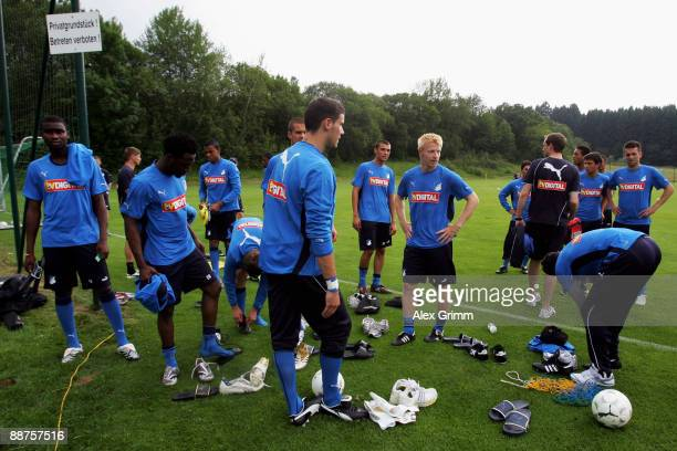 Players wait for the start of a training session of 1899 Hoffenheim during a training camp on June 30, 2009 in Stahlhofen am Wiesensee, Germany. Head...