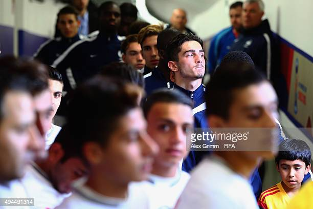 Players wait in the tunnel prior to the FIFA U17 World Cup Chile 2015 Group F match between France and Syria at Estadio Municipal de Concepcion on...