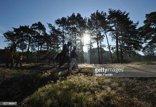 Players walk during the final round of the KLM Open at Hilversumsche Golf Club on September 9 2012 in Hilversum Netherlands