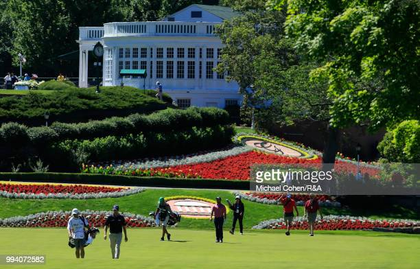Players walk on the first fairway during the fourth and final round of A Military Tribute At The Greenbrier held on The Old White TPC on July 8 2018...
