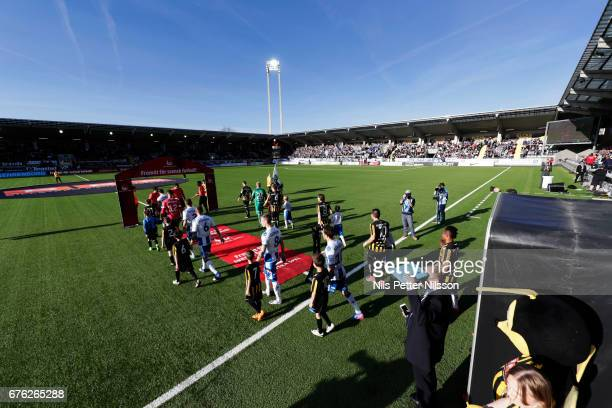 Players walk on the pitch ahead of the Allsvenskan match between BK Hacken and IFK Goteborg at Bravida Arena on May 2 2017 in Gothenburg Sweden