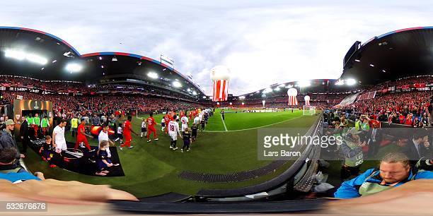 PLayers walk on to the pitch ahead of the UEFA Europa League Final match between Liverpool and Sevilla at St JakobPark on May 18 2016 in Basel...