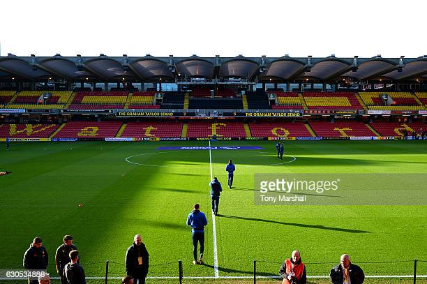Players walk on to the pitch before the Premier League match between Watford and Crystal Palace at Vicarage Road on December 26 2016 in Watford...