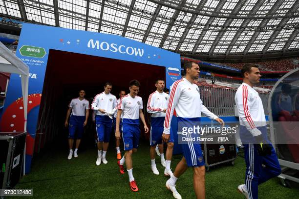 Players walk onto the pitch during a Russia training session ahead of the 2018 FIFA World Cup opening match against Saudia Arabia at Luzhniki Stadium...