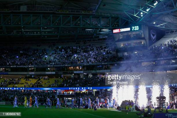 Players walk out during the round one A-League match between the Melbourne Victory and Melbourne City at Marvel Stadium on October 12, 2019 in...