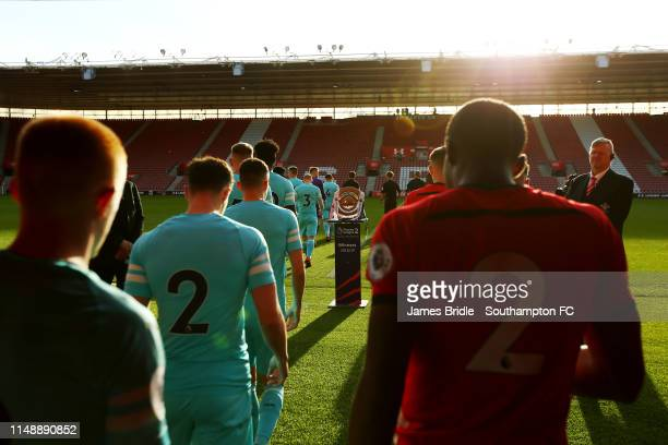 Players walk out of the tunnel ahead of kick off for the U23s PL2 Play off final between Southampton and Newcastle United pictured at St Mary's...