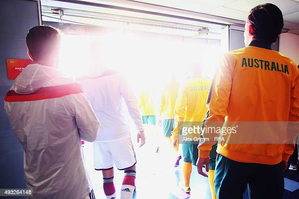 Players walk out of the tunnel for the FIFA U17 World Cup Chile 2015 Group C match between Australia and Germany at Estadio Nelson Oyarzun Arenas on...