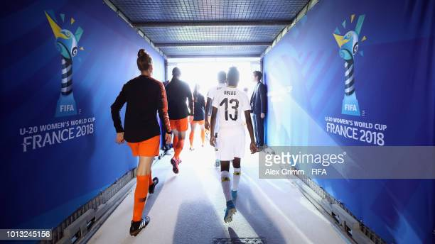 Players walk out of zhe tunnel for the FIFA U-20 Women's World Cup France 2018 group A match between Netherlands and Ghana at Stade de la Rabine on...