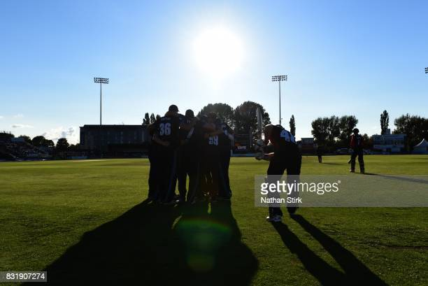 Players walk out on the pitch during the NatWest T20 Blast match between Derbyshire Falcons and Durham Jets at The 3aaa County Ground on August 15...
