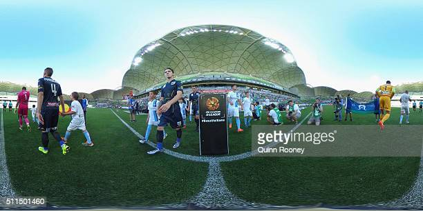 Players walk out onto the field during the round 20 ALeague match between Melbourne City FC and the Central Coast Mariners at AAMI Park on February...
