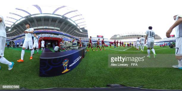 Players walk out onto the pitch prior to the FIFA U20 World Cup Korea Republic 2017 Round of 16 match between Venezuela and Japan at Daejeon World...