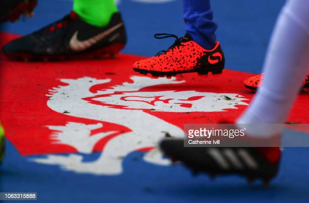 Players walk over the carpet with one of the three lions on prior to the UEFA Nations League A group four match between England and Croatia at...