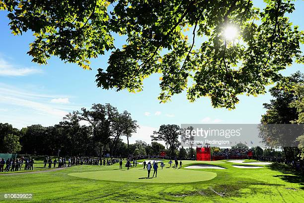 Players walk to the fourth green while practicing prior to the 2016 Ryder Cup at Hazeltine National Golf Club on September 27, 2016 in Chaska,...