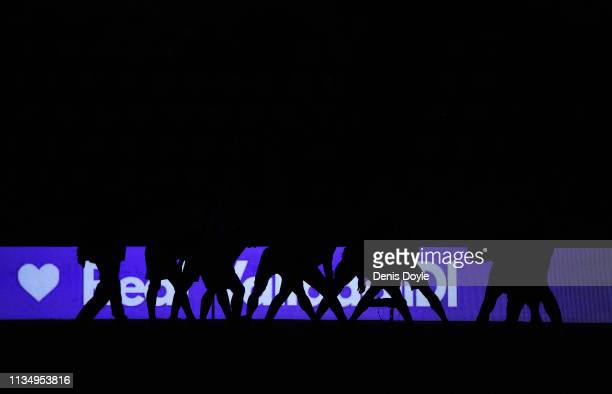Players warm up as the stadium suffers a power outage and floodlights fail prior to the La Liga match between Real Valladolid CF and Real Madrid CF...