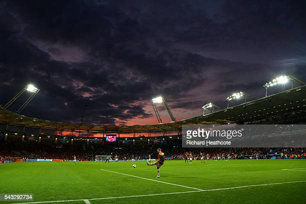 Players warm up at half time during the UEFA EURO 2016 round of 16 match between Hungary and Belgium at Stadium Municipal on June 26 2016 in Toulouse...
