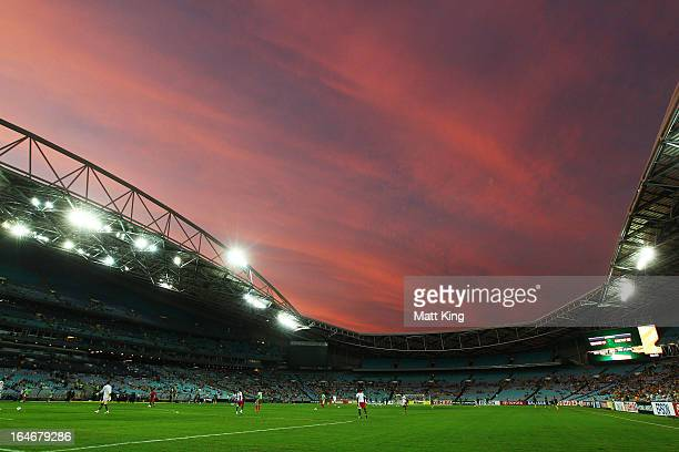 Players warm up before the FIFA 2014 World Cup Qualifier match between the Australian Socceroos and Oman at ANZ Stadium on March 26 2013 in Sydney...