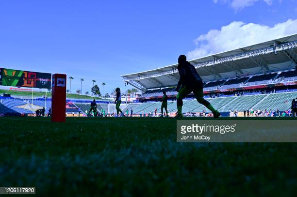 Players warm up before the XFL game between the Los Angeles Wildcats and the Tampa Bay Vipers at Dignity Health Sports Park on March 8, 2020 in...