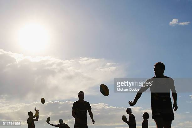Players warm up during a Hawthorn Hawks AFL training session at Waverley Park on February 23 2016 in Melbourne Australia