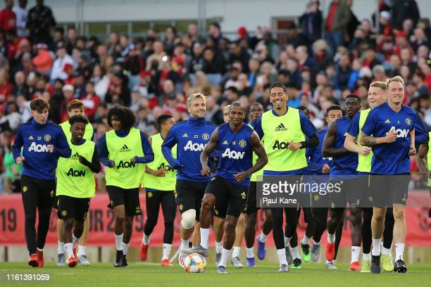Players warm up during a Manchester United training session at the WACA on July 11 2019 in Perth Australia