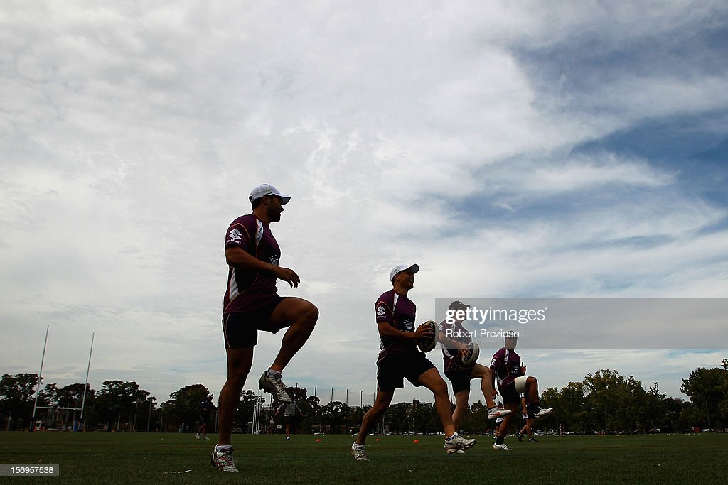 Players warm up during a Melbourne Storm NRL pre-season training session at Gosch's Paddock on November 26, 2012 in Melbourne, Australia.