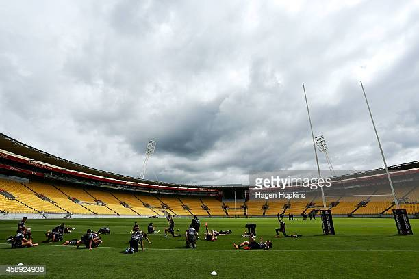 Players warm up during a New Zealand Kiwis training session at Westpac Stadium on November 14 2014 in Wellington New Zealand