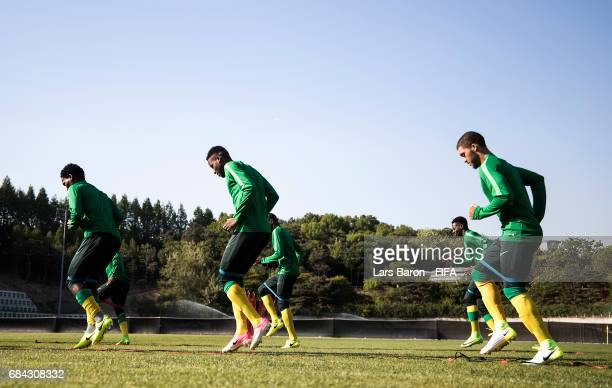 Players warm up during a South Africa training session for the FIFA U20 World Cup Korea Republic at Suwon World Cup Stadium Auxiliary Field on May 17...