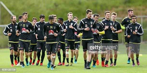 Players warm up during a Wellington Phoenix ALeague training session at Newtown Park on December 7 2016 in Wellington New Zealand