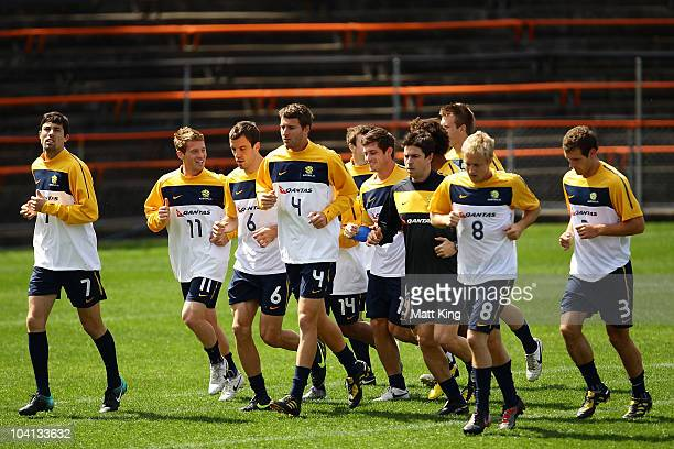 Players warm up during an Olyroos training session at Leichhardt Oval on September 16, 2010 in Sydney, Australia.