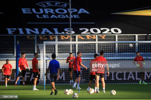 Players warm up during an Sevilla FC Training Session And Press Conference at MSV Arena on August 05 2020 in Duisburg Germany