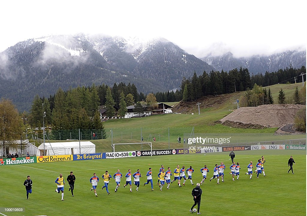 Players warm up during the Dutch national football team's first practice at their training camp in Tyrolian village in Seefeld on May 20, 2010, prior to the FIFA World cup 2010 in South Africa.