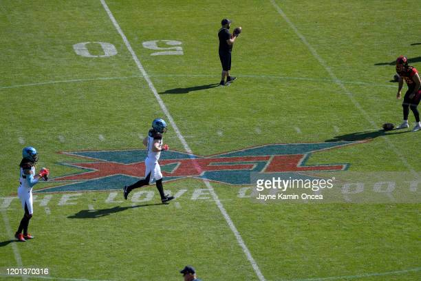 Players warm up for the XFL game between the Los Angeles Wildcats and the Dallas Renegades at Dignity Health Sports Park on February 16, 2020 in...