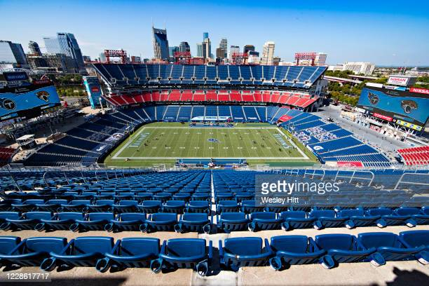 Players warm up in a empty stadium before a game between the Jacksonville Jaguars and the Tennessee Titans at Nissan Stadium on September 20, 2020 in...