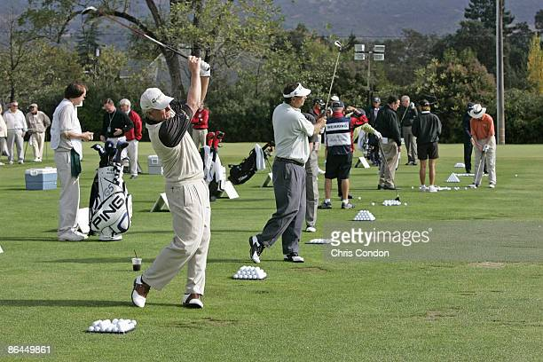 Players warm up on the driving range during the third round of the Charles Schwab Cup Championship Saturday October 29 2005 at Sonoma Golf Club...