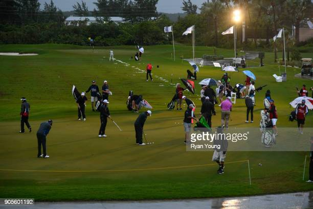 Players warm up on the practice green prior to the start of the final round of the Webcom Tour's The Bahamas Great Exuma Classic at Sandals Emerald...