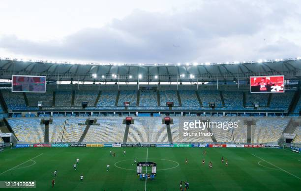 Players warm up prior to a match between Flamengo and Potuguesa as part of the Rio State Championship 2020, to played behind closed doors at Maracana...