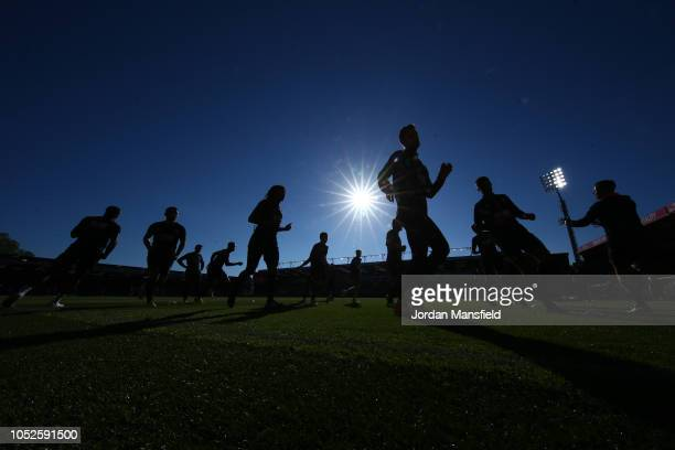 Players warm up prior to the Premier League match between AFC Bournemouth and Southampton FC at Vitality Stadium on October 20 2018 in Bournemouth...