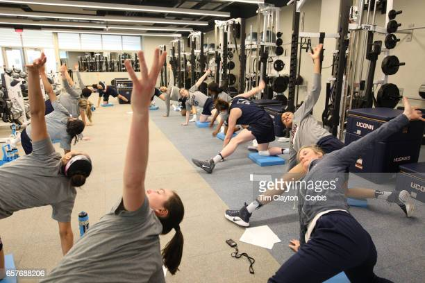 Players warming down and stretching under the supervision of strength coach Amanda Kimball during the UConn Huskies women's basketball team training...