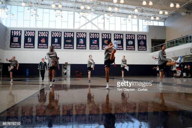 Players warming up under the supervision of strength coach Amanda Kimball'nduring the The UConn Huskies women's basketball team training at the Werth...
