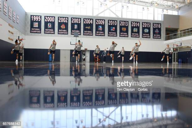 Players warming up under the supervision of strength coach Amanda Kimball during the UConn Huskies women's basketball team training at the Werth...