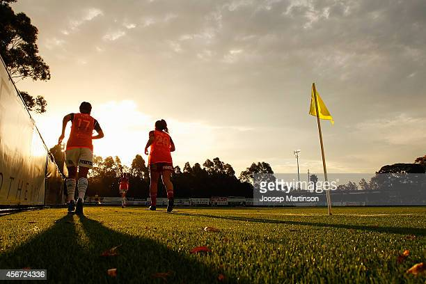 Players warmup during the round four WLeague match between Sydney and Melbourne at Lambert Park on October 6 2014 in Sydney Australia