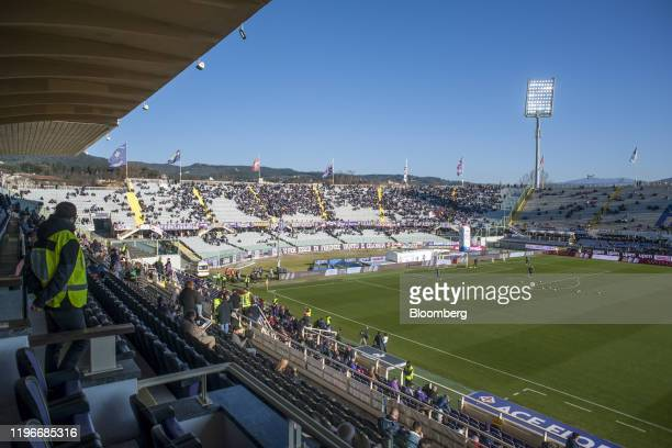 Players warmup on the pitch ahead of the ACF Fiorentina v SPAL Italian Serie A soccer match at the Artemio Franchi stadium in Florence Italy on...