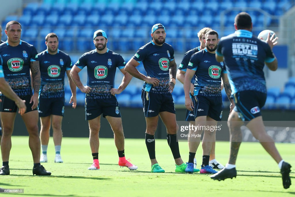 Players watch drills during the New South Wales Blues State of Origin captain's run at Cbus Super Stadium on May 30, 2017 in Gold Coast, Australia.