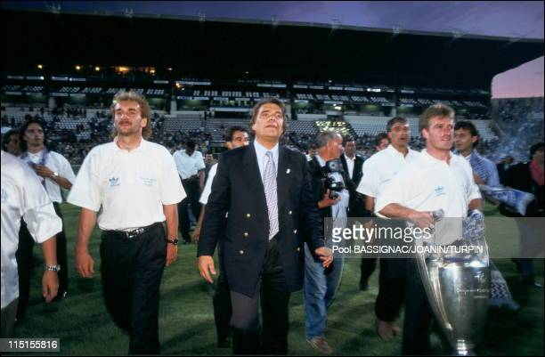OM players winners of the European Champions Cup back to Marseille in Marseille France on May 27 1993 Rudi Voeller Bernard Tapie Didier Deschamps