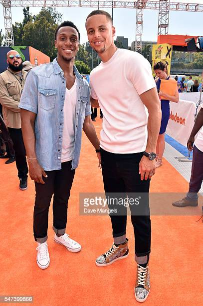 NBA playes Ish Smith and Stephen Curry attend the Nickelodeon Kids' Choice Sports Awards 2016 at UCLA's Pauley Pavilion on July 14 2016 in Westwood...