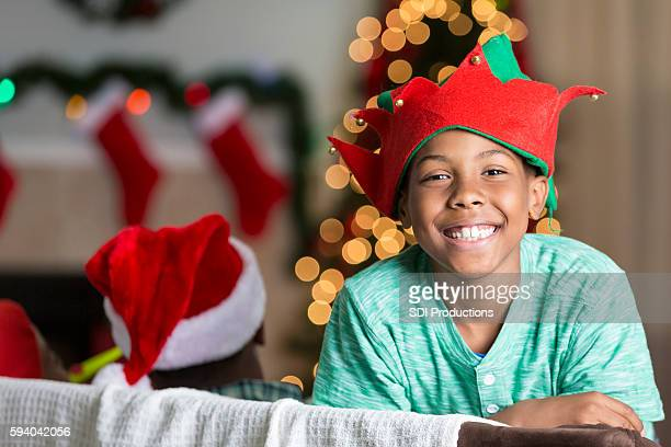 Playful African American boy at Christmastime