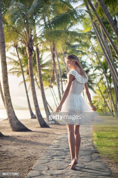 Playful Beautiful Woman, White Dress, Palm Cove, Australia